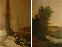 paysage de neige à la rivière et paysage boisé à la rivière (pair) by louis alexandre cabié
