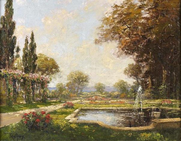 Jardin en fleurs avec bassin et jet deau par Henri Malfroy-Savigny ...