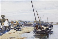 beached fishing boats by robert weir allan
