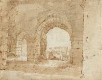 personnage dessinant les ruines du colisée by paulus willemsz van vianen