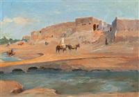 cavalier près d'un village en afrique du nord by louis dumoulin