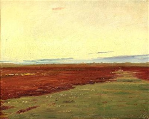 sunset over brovandene near skagen by michael peter ancher