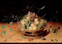corbeille de fruits sur un entablement by isaac soreau
