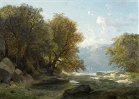 paysage au bord d'un lac by alexandre calame