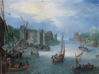 a river landscape with boats by a town by jan brueghel the younger