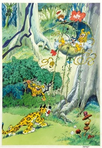marsupilami (cover for marsupilami poster book) by batem