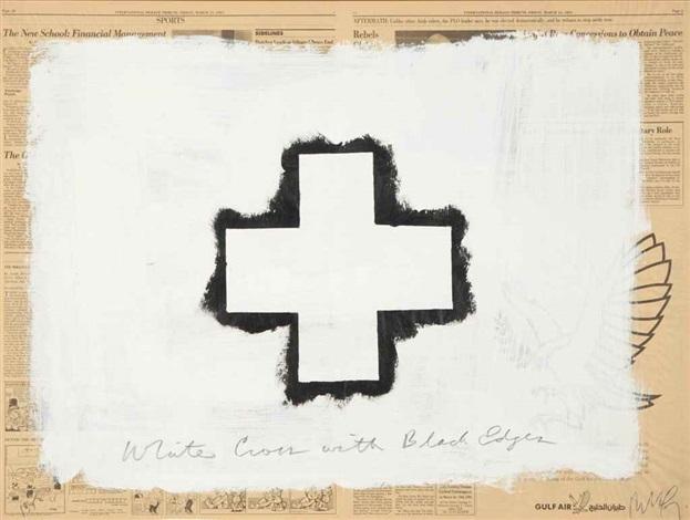white cross with black edges by robert longo