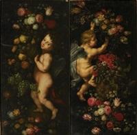 putti et fleurs (pair) by jan pieter ykens