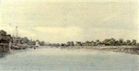 the governor-general's budgerow on the approach to colna, bengal (+ 2 others; 3 works, various sizes) by hubert cornish