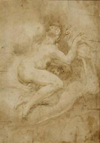 junon énucléant la tête d'argus pour orner les plumes du paon (+ 3 sketches, verso) by nicolo dell' abbate