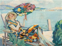 lady in a deck chair by edward cucuel
