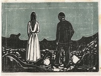 two human beings. the lonely ones by edvard munch