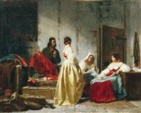 le marchand de tissu et les couturières by charles pignerolle