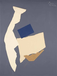 in white and blue on grey by robert motherwell