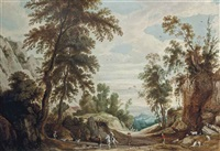 a wooded landscape with a figure on horseback and shepherds with their flock on a path, a castle beyond by jan wildens