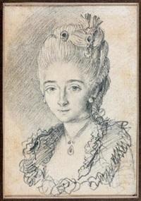 portrait de femme by augustin de saint-aubin