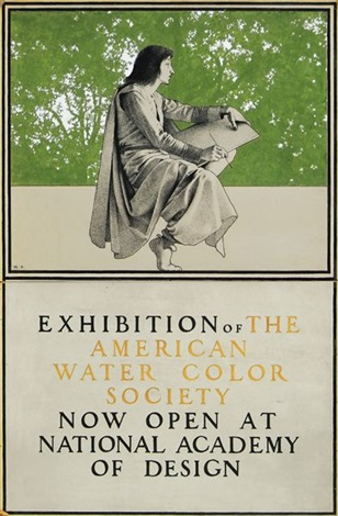 seated artist exhibition of the american water color society illus for poster by maxfield parrish