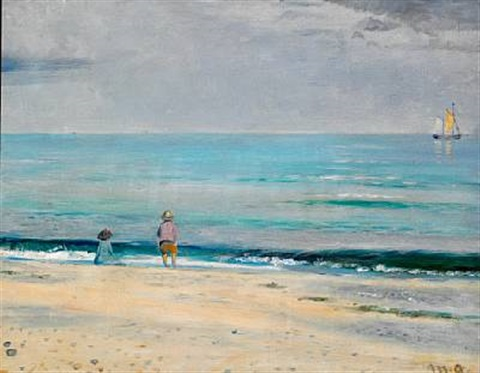 children playing on the beach near skagen by michael peter ancher