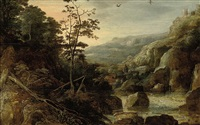 a wooded river landscape with a village beyond by tobias verhaecht