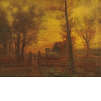 passing a gate at sunset by charles henry miller
