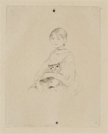 julia and her cat by berthe morisot