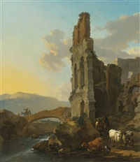 italianate river landscape with herdsmen by the ruins of an amphitheatre, and peasants crossing a bridge by nicolaes berchem
