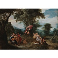apollo and the muses by frans francken the younger and jaspar van der laanen