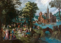 réjouissances villageoises devant un château fortifié bordé d'une rivière by david vinckboons