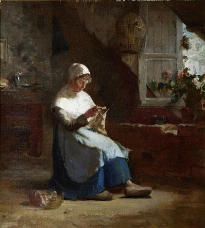 woman knitting by walter gay
