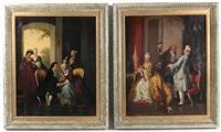salon interiors, aristocratic flirtations (pair) by continental school (19)