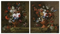 vases de fleurs sur un entablement de pierre (2 works) by gaspar pieter verbruggen the younger