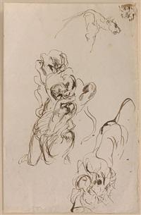 trois études sur la même feuille : une lionne, lion attaquant une femme, un lion by eugène delacroix