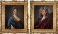 portrait de femme en buste (+ portrait d'homme en buste; pair) by joseph vivien