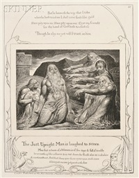 frontispiece and the upright man is laughed to scorn (from the book of job) by william blake