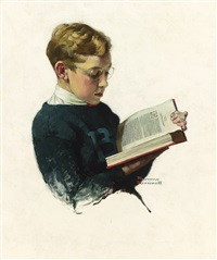 today your boy, your... (boy reading) by norman rockwell
