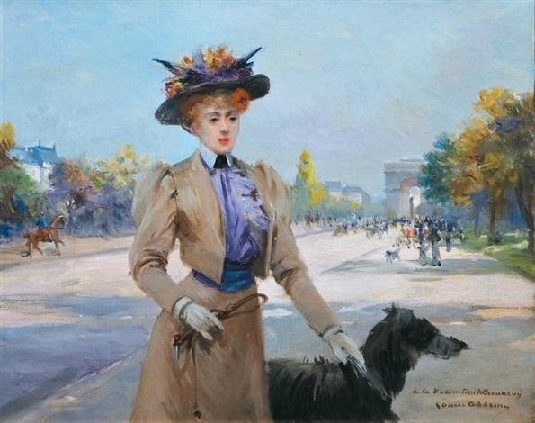 élégante et son chien avenue foch by louise abbéma