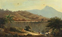 mountainscape with women washing clothes in the river, probably marocco by daniel hermann anton melbye