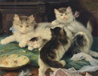 mother cat and kittens at play by licinio barzanti