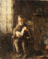 rabbi reading by the window by jozef israëls
