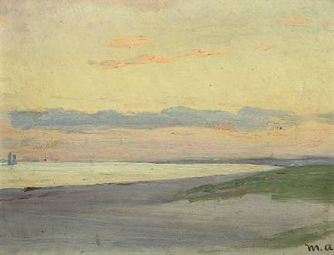 evening at skagen with view over the sea by michael peter ancher