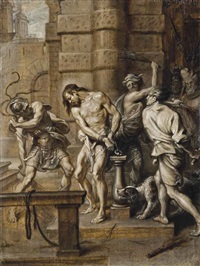 the flagellation, en brunaille by abraham van diepenbeeck