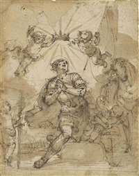 a kneeling warrior saint crowned by putti by giulio benso