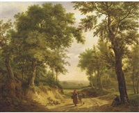 on a forest path in summer by maximilien lambert gelissen