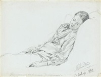 woman (study for composed, + 2 others; 3 works) by mikhail petrovich (baron) klodt von jurgensburg