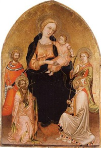 the madonna and child with saints john the baptist, nicholas of bari, martin of tours and stephen (?) by master of borgo alla collina
