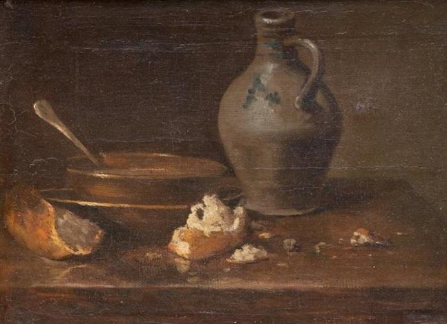nature morte à lécuelle au pain et à la cruche by jean baptiste siméon chardin