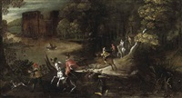 a wooded river landscape with a hunting party by denis van alsloot