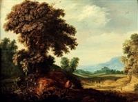 paysage de forêt avec un promeneur demandant son chemin by alexander keirincx