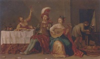 elegant company playing music and merrymaking in an interior by willem bartsius