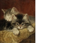 two kittens on a pillow by henriette ronner-knip